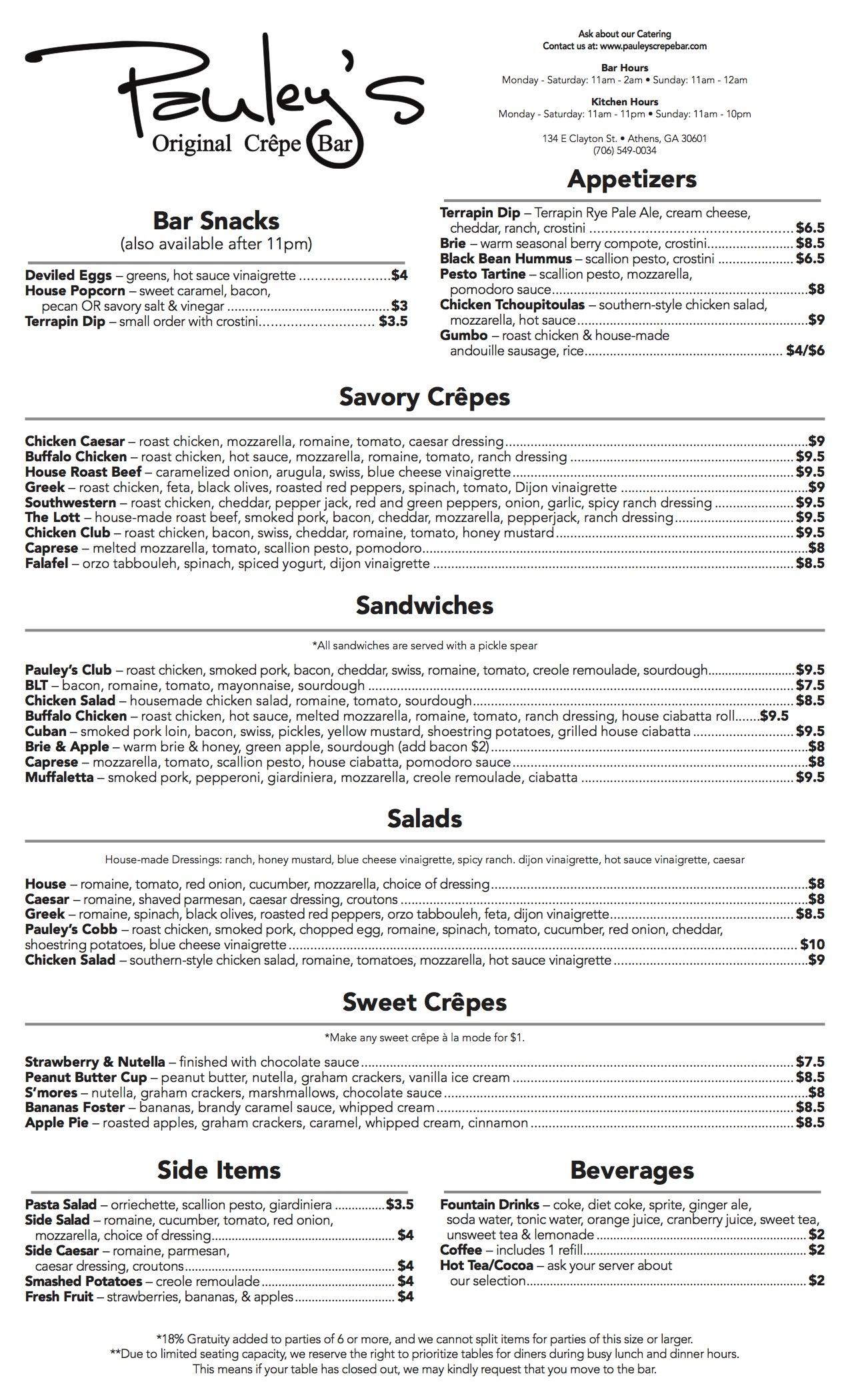 pauleys menu 2